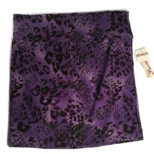 Feathers Purple Black Stretch Mini Skirt